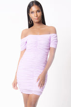 Load image into Gallery viewer, OFF SHOULDER RUCHED MINI DRESS