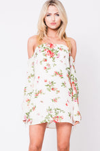 Load image into Gallery viewer, OFF SHOULDER FLORAL MINI DRESS