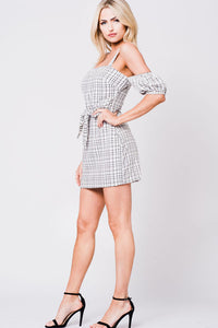 DROP SHOULDER PLAID PRINT DRESS