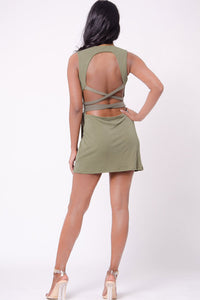 OPEN BACK SOLID MINI DRESS