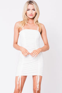 SOLID SPAGHETTI STRAPS MINI DRESS
