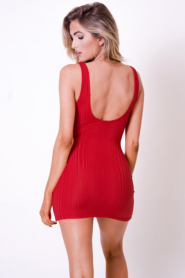 SLEEVELESS DRAWSTRING MINI DRESS