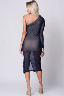 ONE SHOULDER MESH MIDI DRESS
