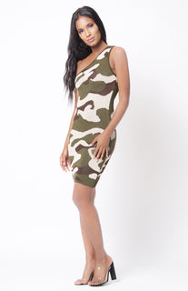 Sleeveless Knit One Shoulder Body-con Dress Camo Print