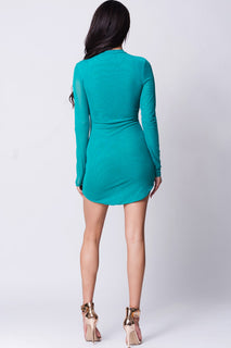 LONG SLEEVE MESH BODY-CON DRESS