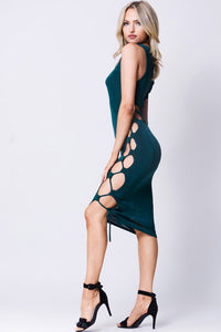 LACE UP SOLID MIDI DRESS