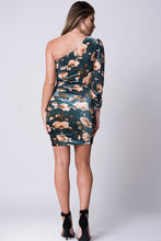 Load image into Gallery viewer, ONE SHOULDER VELVET MINI DRESS