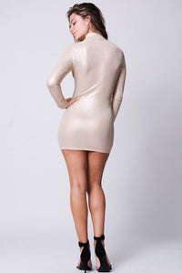 MOCK NECK LONG SLEEVE BODY-CON DRESS