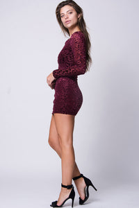 VELVET DETAIL MINI DRESS