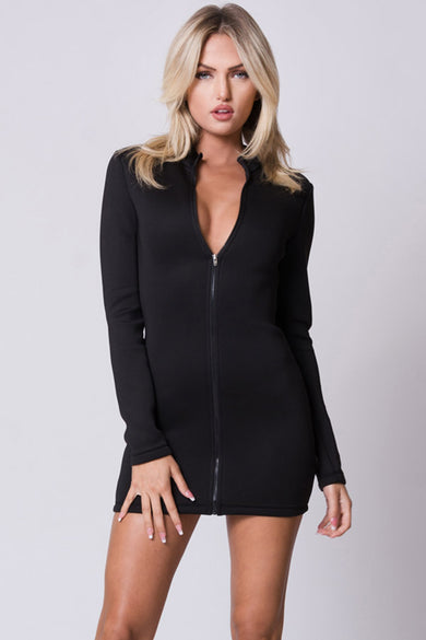LONG SLEEVE FRONT ZIPPER MINI DRESS