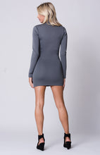 Load image into Gallery viewer, LONG SLEEVE FRONT ZIPPER MINI DRESS