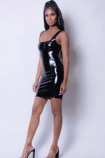 PU LEATHER SLEEVELESS DRESS