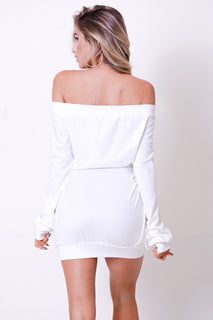 OFF SHOULDER LACE UP DETAIL MINI DRESS