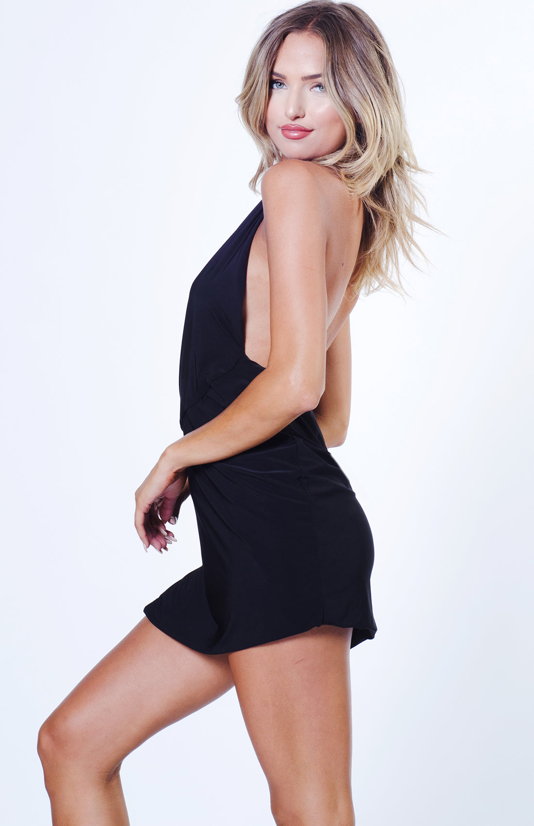 SOLID HALTER MINI DRESS