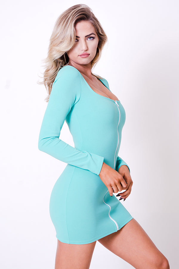 LONG SLEEVE FRONT ZIPPER DRESS
