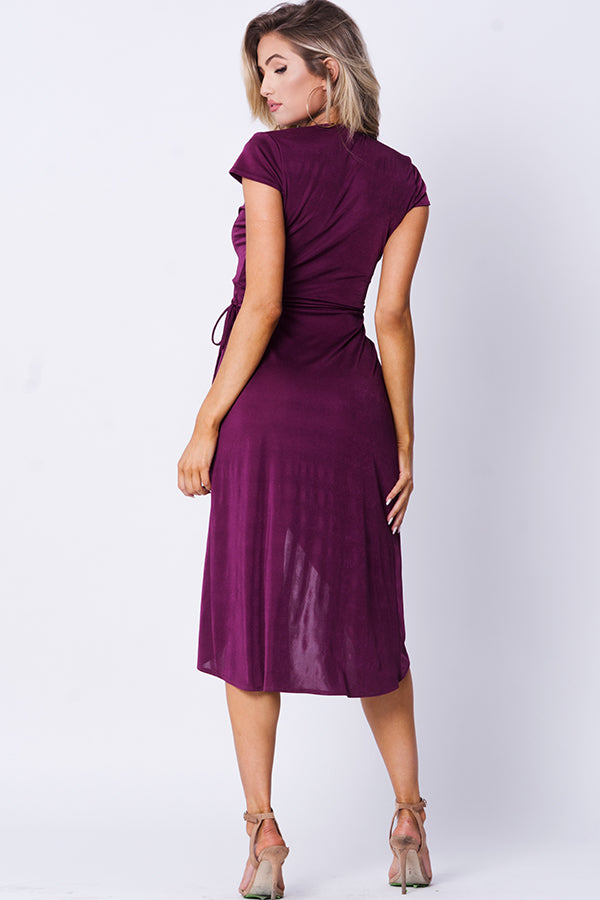 SURPLICE SOLID WRAP DRESS