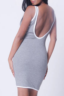 SCHOOP BACK PIPPING DETAIL DRESS