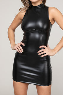 SLEEVELESS LEATHER MINI DRESS