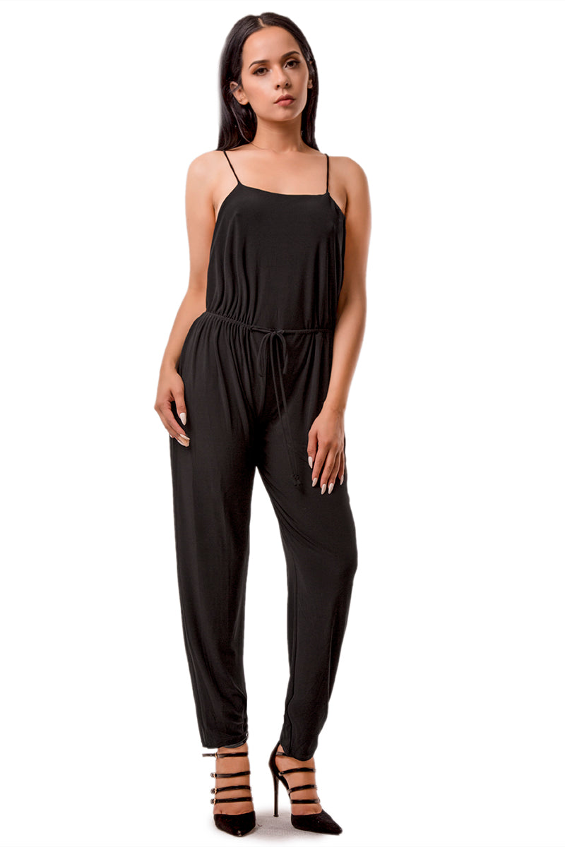 OPEN BACK SOLID JUMPSUIT
