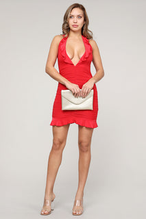 RUFFLED HALTER MINI DRESS