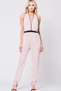SOLID OPEN BACK HALTER JUMPSUIT