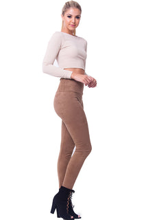 HIGH WAIST SUEDE PANTS