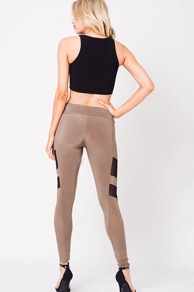 MESH PANEL HIGH WAIST LEGGINGS