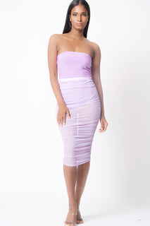 MESH RUCHED MIDI SKIRT