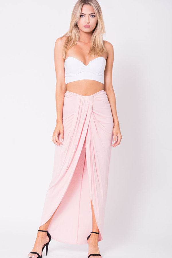 DRAPED SOLID MAXI SKIRT