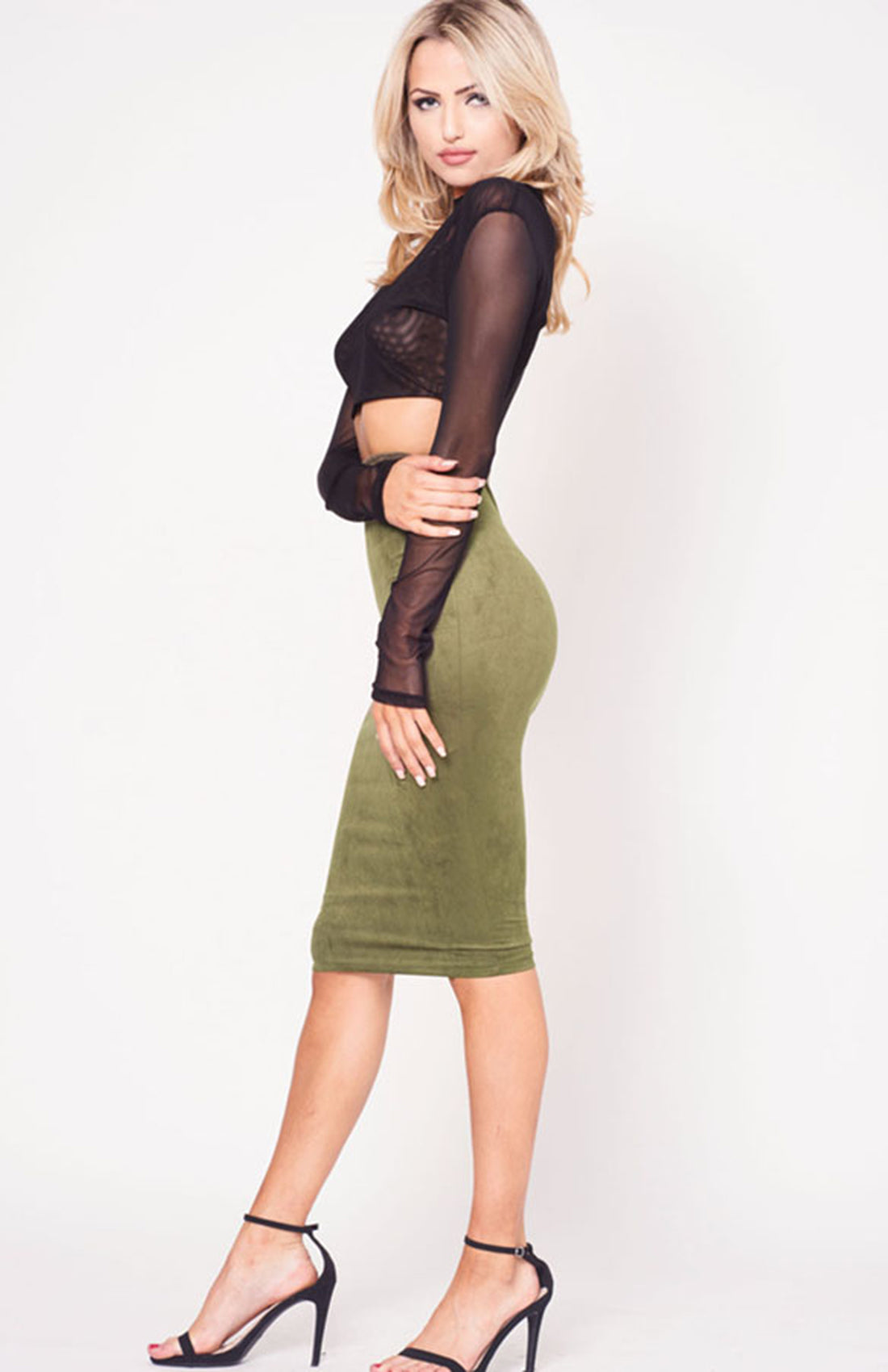 HIGH WAIST SUEDE SKIRT