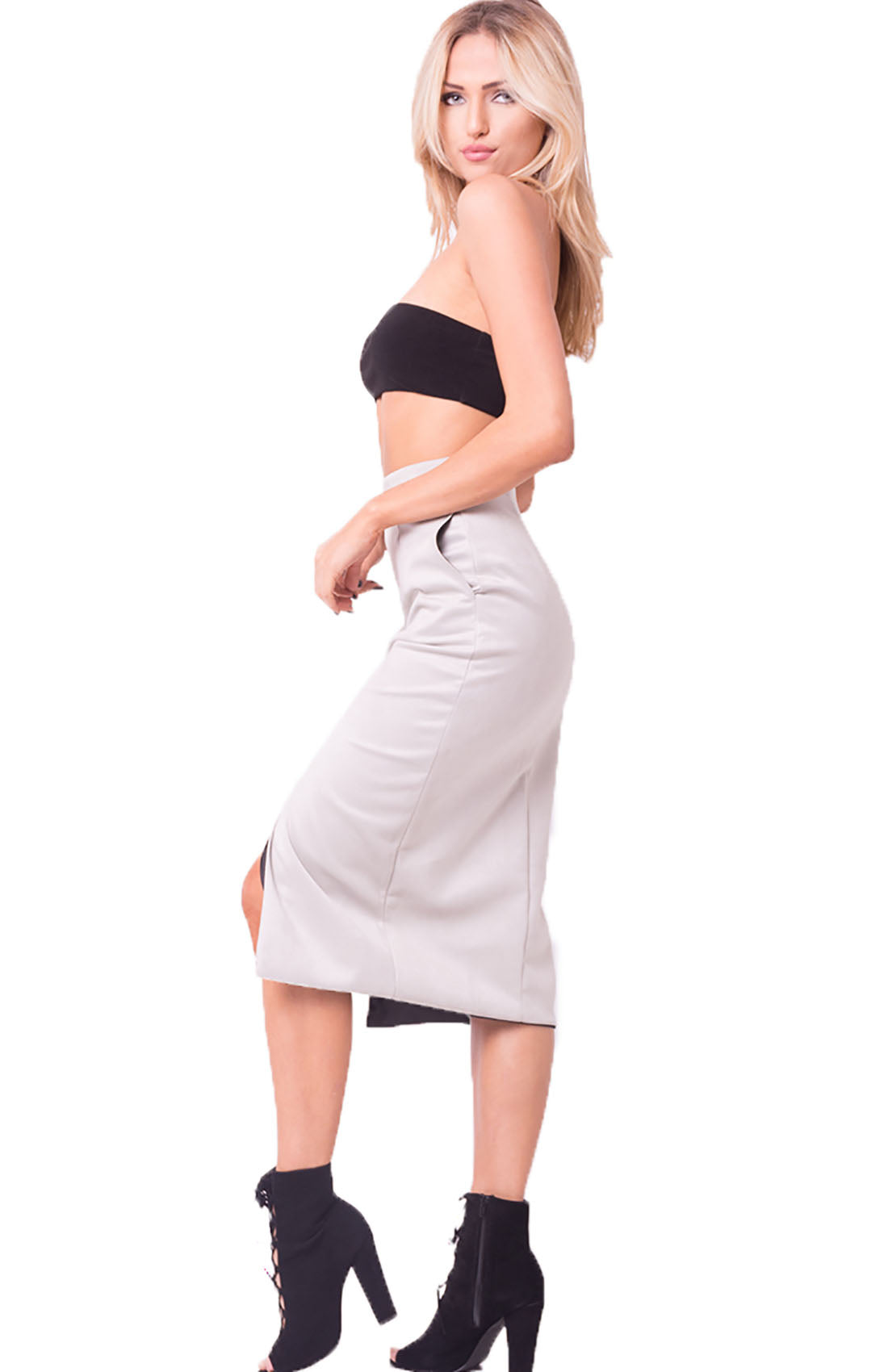 HIGH WAIST POCKET MIDI SKIRT