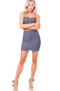 RAW EDGES MINI DENIM SKIRT