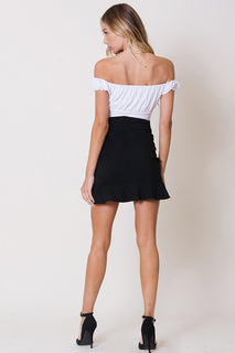 RUFFLE DETAIL SELF TIE SKIRT