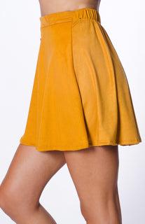 FAUX SUEDE BUTTON SKIRT