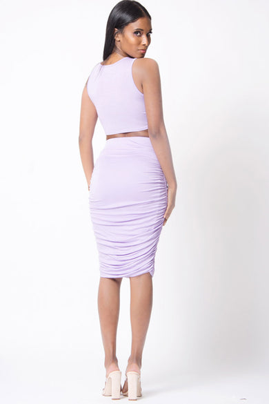 SLEEVELESS CROP RUCHED SKIRT SET