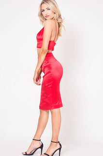 HIGH WAIST SATIN SKIRT