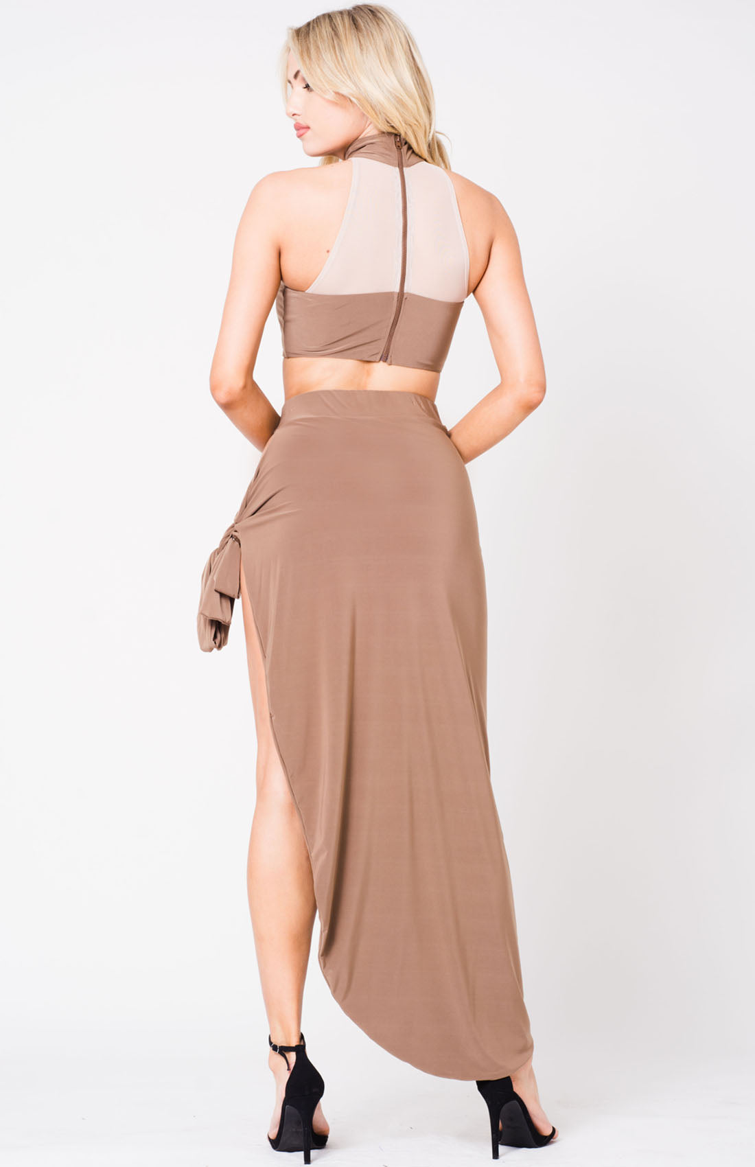 HIGH WAIST SELF TIE SKIRT