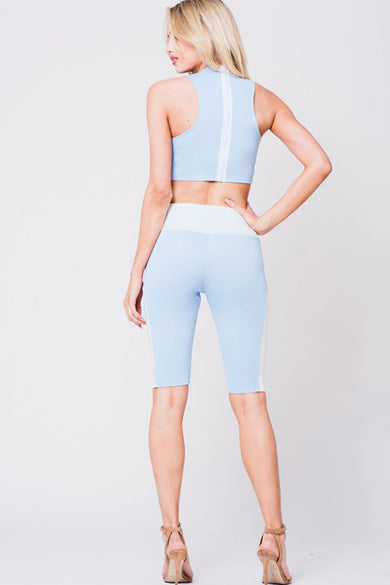 COLORBLOCK HALTER TWO PIECE SET
