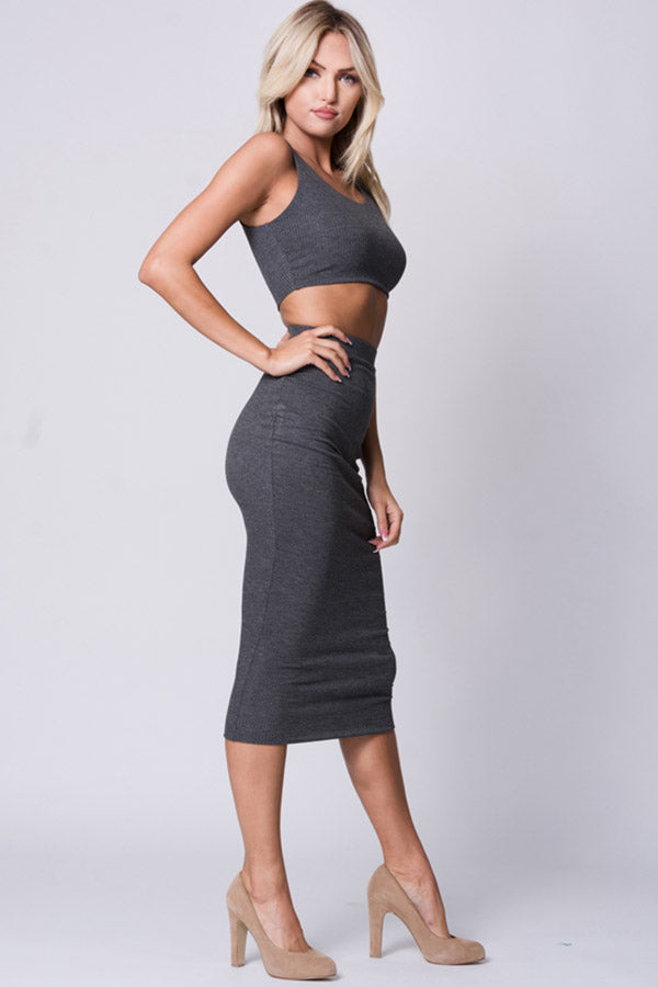 DETAIL BACK SLEEVELESS TWO PIECE SET