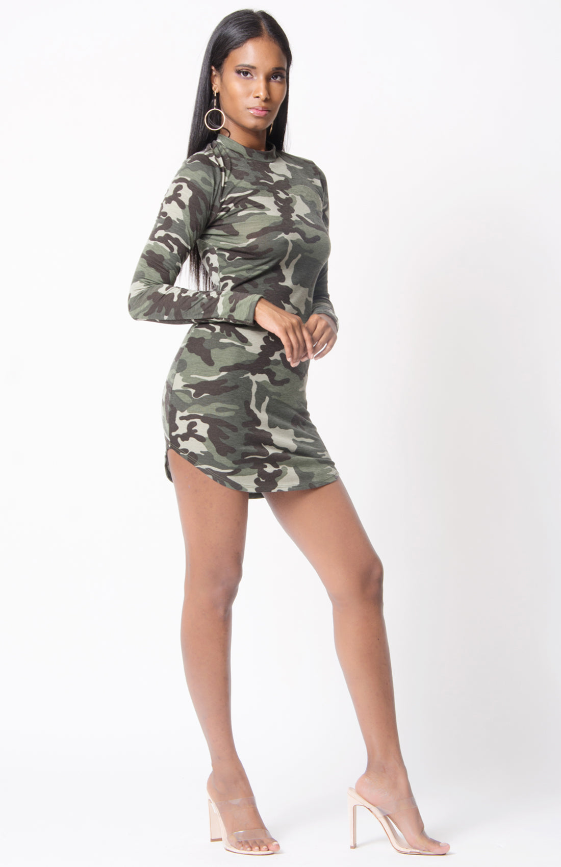 LONG SLEEVE MOCK NECK CAMO DRESS