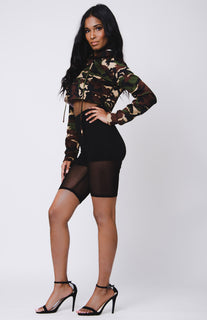 LONG SLEEVE HOODED CROP TOP