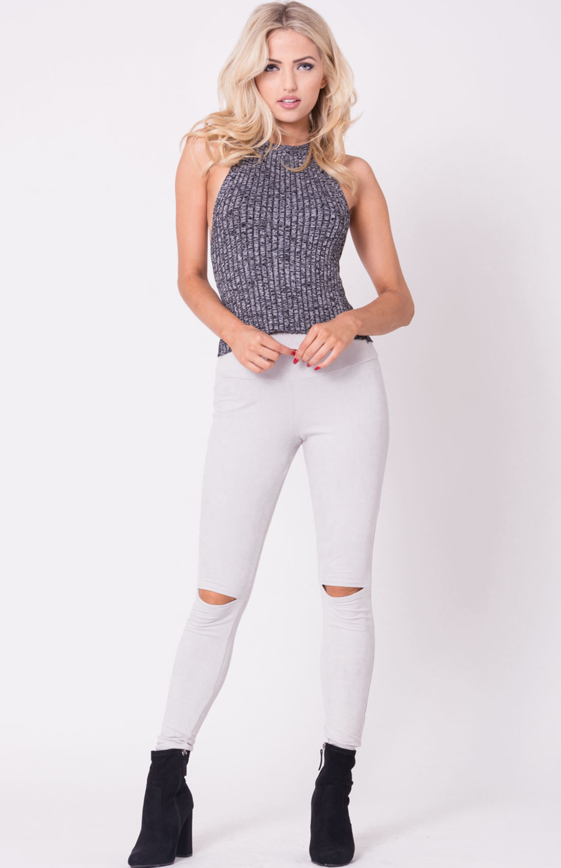 TWO TONE KNIT CROP TOP