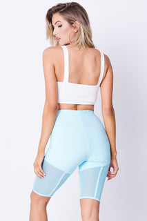 MESH DETAIL HIGH WAIST BIKER SHORTS