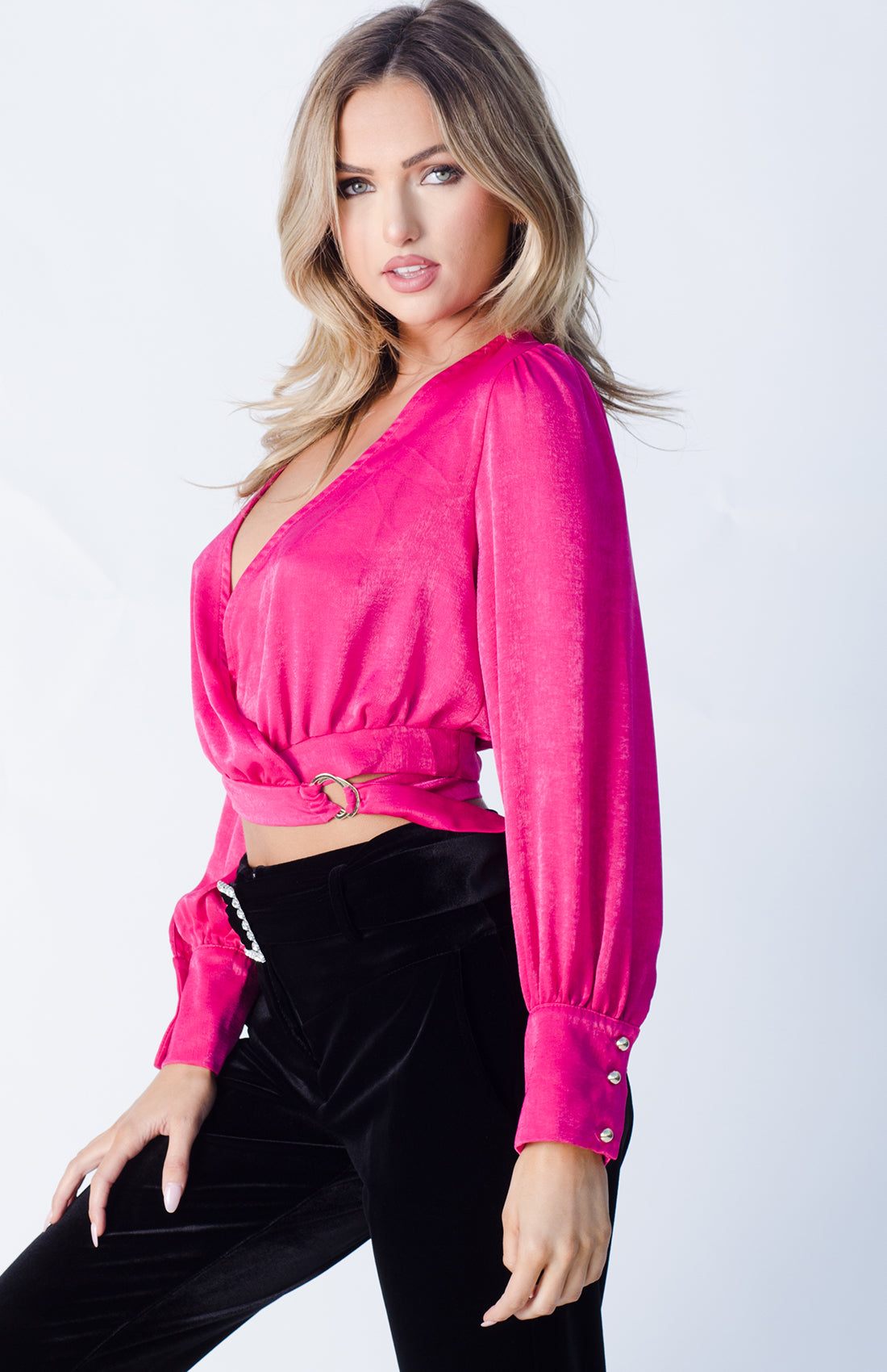WRAPPED SATIN BLOUSE