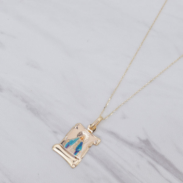 Mary Scroll Necklace