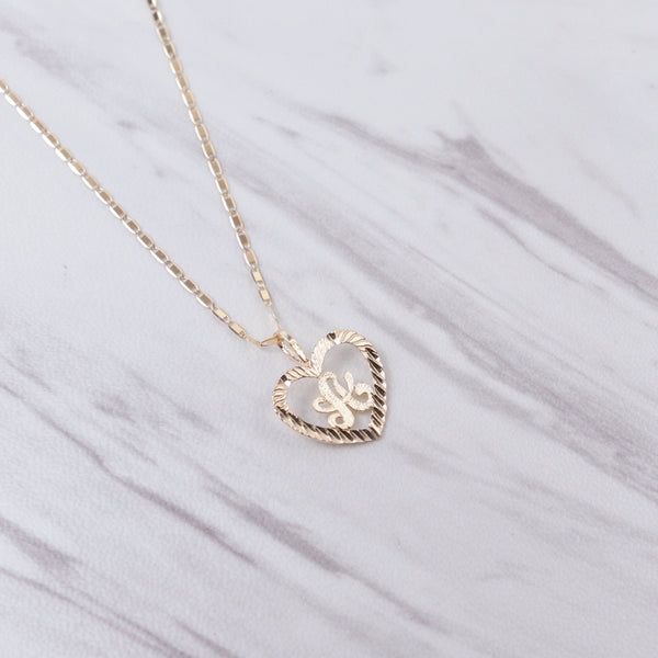 Diamond Cut Heart Initial Necklace
