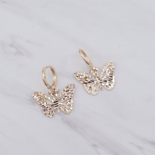 Butterfly Dangling Huggies Earrings