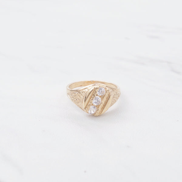 Tri Stone Gold Crusted Ring