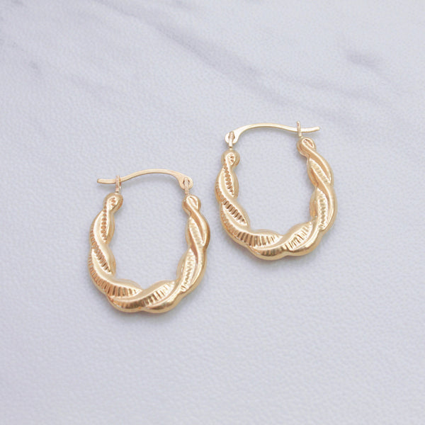 Oval Twist Hoop Earrings