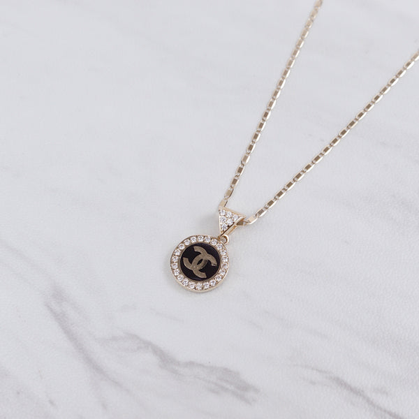 Coco Logo Onyx Stone Necklace